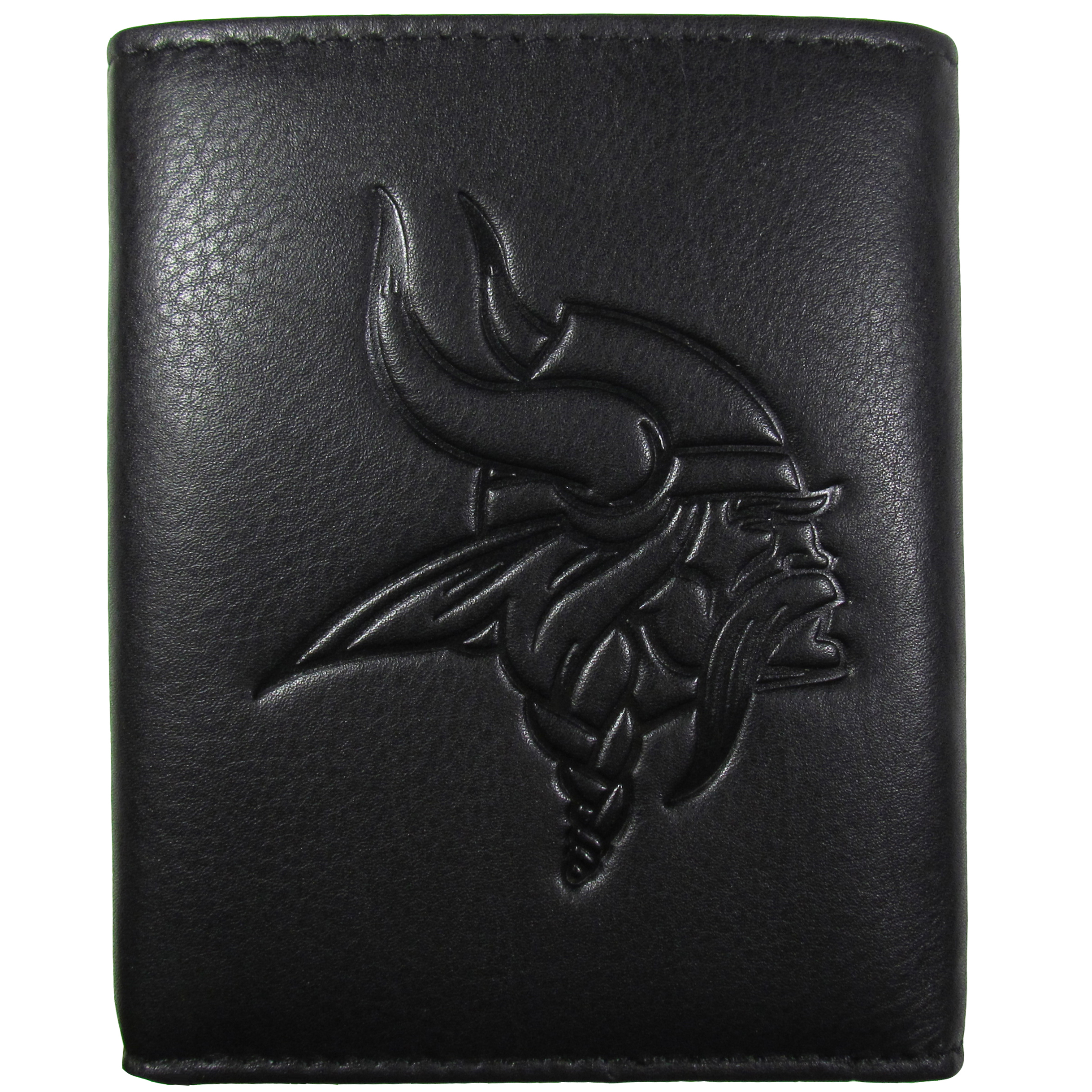 Minnesota Vikings Embossed Leather Tri-fold Wallet - This stylish leather wallet is made of high quality leather with a supple feel and classic look. The front of the tri-fold style wallet has a deeply embossed Minnesota Vikings logo. The billfold is packed with features that will allow to keep organized, lots of credit card slots, windowed ID slot, large pockets for bills and a removable sleeve with extra slots for even more storage. This is a must-have men's fashion accessory that would make any fan very proud to own.