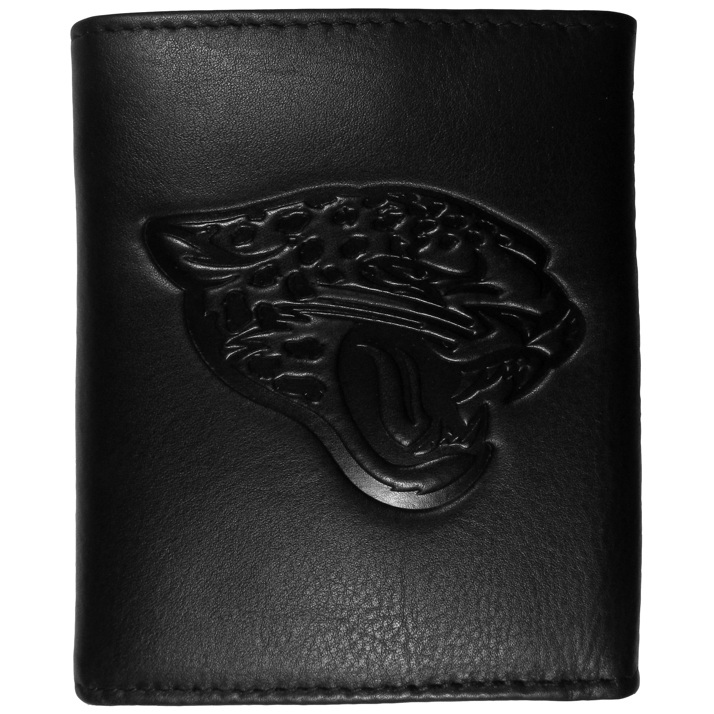 Jacksonville Jaguars Embossed Leather Tri-fold Wallet - This stylish leather wallet is made of high quality leather with a supple feel and classic look. The front of the tri-fold style wallet has a deeply embossed Jacksonville Jaguars logo. The billfold is packed with features that will allow to keep organized, lots of credit card slots, windowed ID slot, large pockets for bills and a removable sleeve with extra slots for even more storage. This is a must-have men's fashion accessory that would make any fan very proud to own.