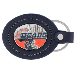 Chicago Bears Large Leather Key Chain - This Chicago Bears key fob combines fine leather surrounding a sculpted & enameled emblem. The intricate design and the American craftsmanship makes this key ring a unique and long lasting gift. Made in America.  Officially licensed NFL product Licensee: Siskiyou Buckle .com