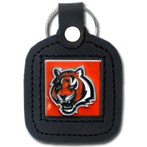 Square Leather Key Ring - Cincinnati Bengals - The NFL square leather key ring features a 3D carved metal square that is hand enameled in the team colors and inlaid into a genuine leather key fob. Check out our entire line of  key rings! Officially licensed NFL product Licensee: Siskiyou Buckle .com