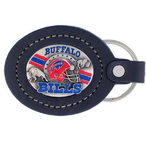 Large Leather Key Chain - Buffalo Bills - This Buffalo Bills key fob combines fine leather surrounding a sculpted & enameled team emblem. American craftsmanship makes this key ring a unique and long lasting gift. Made in America.  Officially licensed NFL product Licensee: Siskiyou Buckle .com