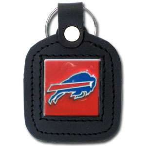 Square Leather Key Ring - Buffalo Bills - The NFL square leather key ring features a 3D carved metal square that is hand enameled in the team colors and inlaid into a genuine leather key fob. Check out our entire line of  key rings! Officially licensed NFL product Licensee: Siskiyou Buckle .com