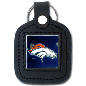 Square Leather Key Ring - Denver Broncos - The NFL square leather key ring features a 3D carved metal square that is hand enameled in the team colors and inlaid into a genuine leather key fob. Check out our entire line of  key rings! Officially licensed NFL product Licensee: Siskiyou Buckle Thank you for visiting CrazedOutSports.com
