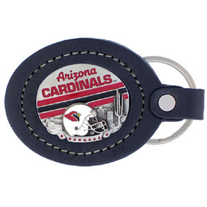 Large Leather Key Chain - Arizona Cardinals - This Arizona Cardinals key fob combines fine leather surrounding a sculpted & enameled team emblem. American craftsmanship makes this key ring a unique and long lasting gift. Made in America.  Officially licensed NFL product Licensee: Siskiyou Buckle .com