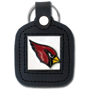 Square Leather Key Ring - Arizona Cardinals - The NFL square leather key ring features a 3D carved metal square that is hand enameled in the team colors and inlaid into a genuine leather key fob. Check out our entire line of  key rings! Officially licensed NFL product Licensee: Siskiyou Buckle .com