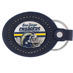 Large Leather Key Chain - San Diego Chargers - This San Diego Chargers key fob combines fine leather surrounding a sculpted & enameled team emblem. American craftsmanship makes this key ring a unique and long lasting gift. Made in America.  Officially licensed NFL product Licensee: Siskiyou Buckle Thank you for visiting CrazedOutSports.com