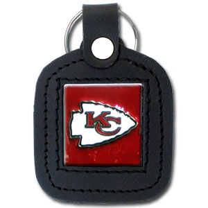 Square Leather Key Ring - Kansas City Chiefs - The NFL square leather key ring features a 3D carved metal square that is hand enameled in the team colors and inlaid into a genuine leather key fob. Check out our entire line of  key rings! Officially licensed NFL product Licensee: Siskiyou Buckle Thank you for visiting CrazedOutSports.com