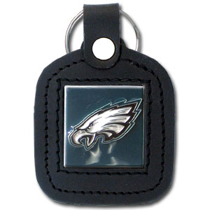 Square Leather Key Ring - Philadelphia Eagles - The NFL square leather key ring features a 3D carved metal square that is hand enameled in the team colors and inlaid into a genuine leather key fob. Check out our entire line of  key rings! Officially licensed NFL product Licensee: Siskiyou Buckle .com