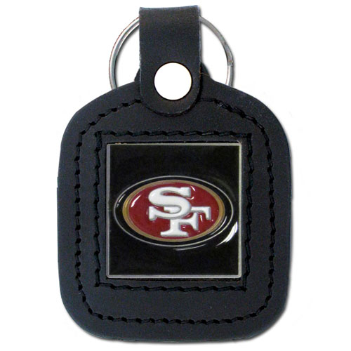 Square Leather Key Ring - San Francisco 49ers - The NFL square leather key ring features a 3D carved metal square that is hand enameled in the team colors and inlaid into a genuine leather key fob. Check out our entire line of  key rings! Officially licensed NFL product Licensee: Siskiyou Buckle .com