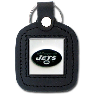 Square Leather Key Ring - New York Jets - The NFL square leather key ring features a 3D carved metal square that is hand enameled in the team colors and inlaid into a genuine leather key fob. Check out our entire line of  key rings! Officially licensed NFL product Licensee: Siskiyou Buckle Thank you for visiting CrazedOutSports.com