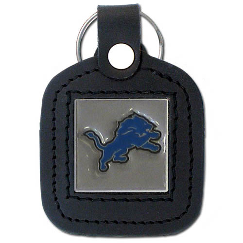 Square Leather Key Ring - Detroit Lions - The NFL square leather key ring features a 3D carved metal square that is hand enameled in the team colors and inlaid into a genuine leather key fob. Check out our entire line of  key rings! Officially licensed NFL product Licensee: Siskiyou Buckle .com
