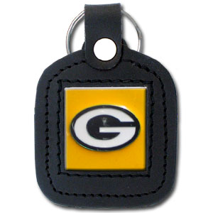 Square Leather Key Ring - Green Bay Packers - The NFL square leather key ring features a 3D carved metal square that is hand enameled in the team colors and inlaid into a genuine leather key fob. Check out our entire line of  key rings! Officially licensed NFL product Licensee: Siskiyou Buckle .com