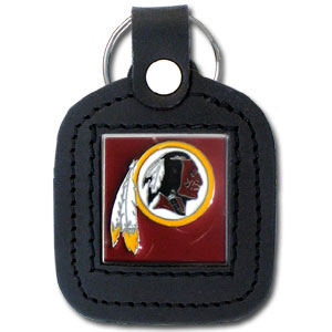 Square Leather Key Ring - Washington Redskins - The NFL square leather key ring features a 3D carved metal square that is hand enameled in the team colors and inlaid into a genuine leather key fob. Check out our entire line of  key rings! Officially licensed NFL product Licensee: Siskiyou Buckle Thank you for visiting CrazedOutSports.com