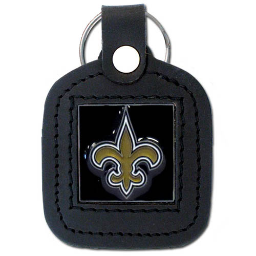 Square Leather Key Ring - New Orleans Saints - The NFL square leather key ring features a 3D carved metal square that is hand enameled in the team colors and inlaid into a genuine leather key fob. Check out our entire line of  key rings! Officially licensed NFL product Licensee: Siskiyou Buckle .com