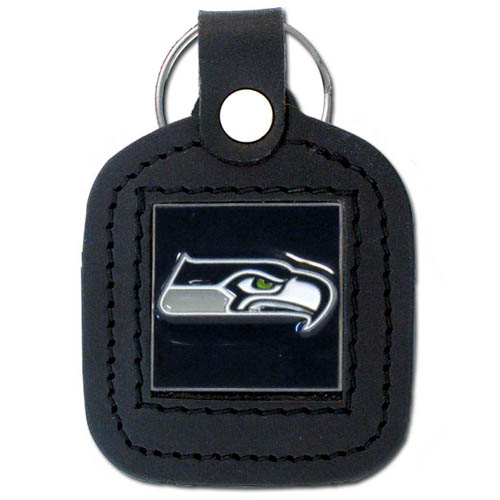 Square Leather Key Ring - Seattle Seahawks - The NFL square leather key ring features a 3D carved metal square that is hand enameled in the team colors and inlaid into a genuine leather key fob. Check out our entire line of  key rings! Officially licensed NFL product Licensee: Siskiyou Buckle .com