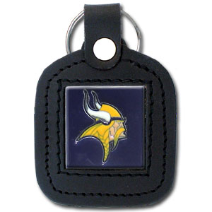 Square Leather Key Ring - Minnesota Vikings - The NFL square leather key ring features a 3D carved metal square that is hand enameled in the team colors and inlaid into a genuine leather key fob. Check out our entire line of  key rings! Officially licensed NFL product Licensee: Siskiyou Buckle .com