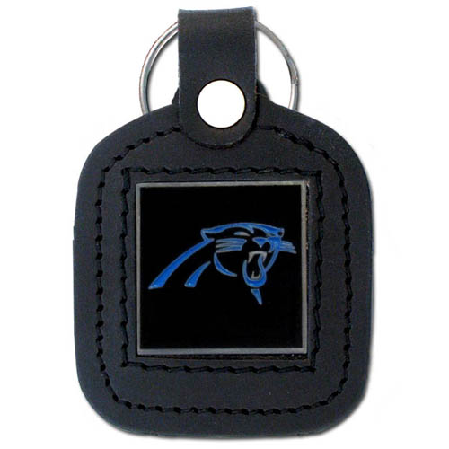 Square Leather Key Ring - Carolina Panthers - The NFL square leather key ring features a 3D carved metal square that is hand enameled in the team colors and inlaid into a genuine leather key fob. Check out our entire line of  key rings! Officially licensed NFL product Licensee: Siskiyou Buckle .com