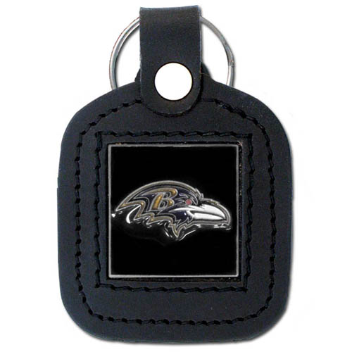 Square Leather Key Ring - Baltimore Ravens - The NFL square leather key ring features a 3D carved metal square that is hand enameled in the team colors and inlaid into a genuine leather key fob. Check out our entire line of  key rings! Officially licensed NFL product Licensee: Siskiyou Buckle .com