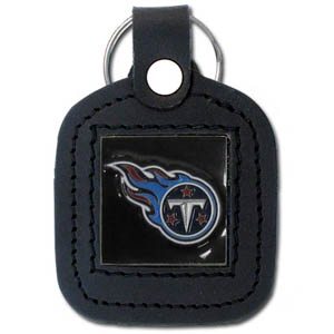 Square Leather Key Ring - Tennessee Titans - The NFL square leather key ring features a 3D carved metal square that is hand enameled in the team colors and inlaid into a genuine leather key fob. Check out our entire line of  key rings! Officially licensed NFL product Licensee: Siskiyou Buckle .com