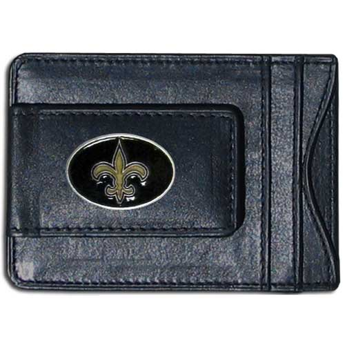 Cash and Cardholder New Orleans Saints - Our New Orleans Saints fine leather cash & cardholder is the perfect way to organize both your cash and cards while showing off your team spirit! Officially licensed NFL product Licensee: Siskiyou Buckle .com