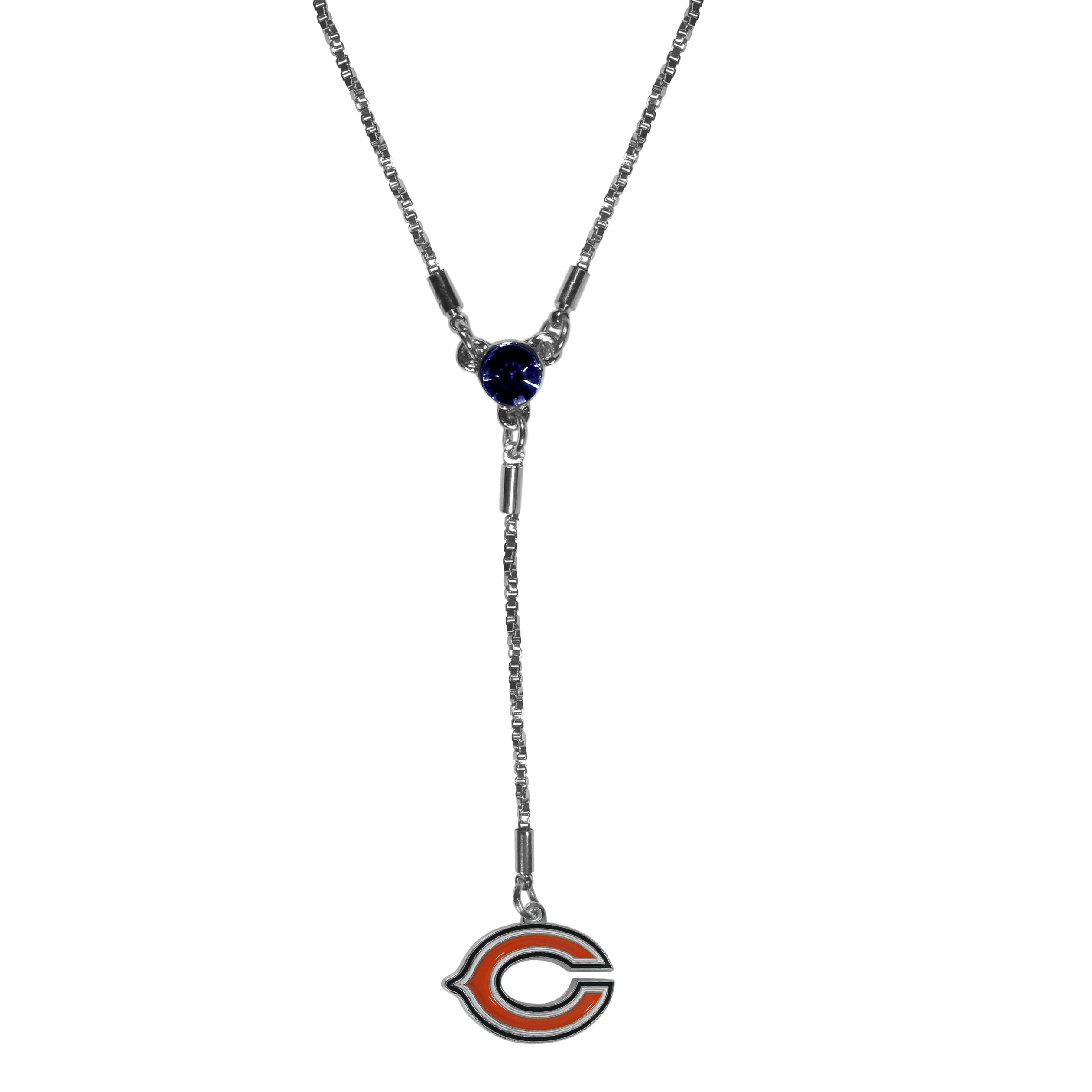 Chicago Bears Lariat Necklace - This designer look is a stylish version of the classic lariat necklace. The chic box chain is 16 inches long with a 2 inch extender, the Y drop features a large team colored crystal with an expertly carved team charm. This trendy look is a perfect blend of sporty and chic making is a mush-have fashion accessory for the fashion-forward Chicago Bears fan.