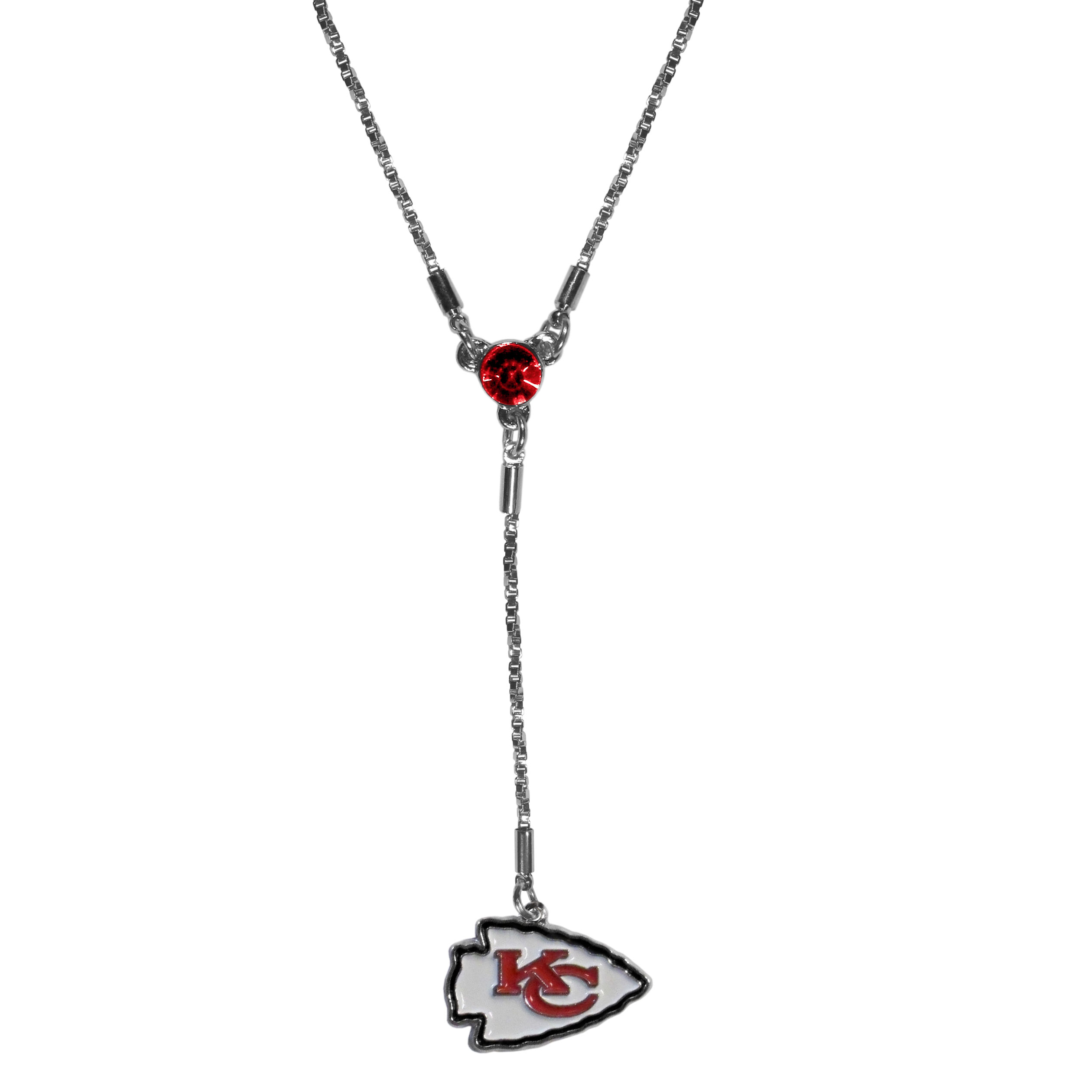 Kansas City Chiefs Lariat Necklace - This designer look is a stylish version of the classic lariat necklace. The chic box chain is 16 inches long with a 2 inch extender, the Y drop features a large team colored crystal with an expertly carved team charm. This trendy look is a perfect blend of sporty and chic making is a mush-have fashion accessory for the fashion-forward Kansas City Chiefs fan.