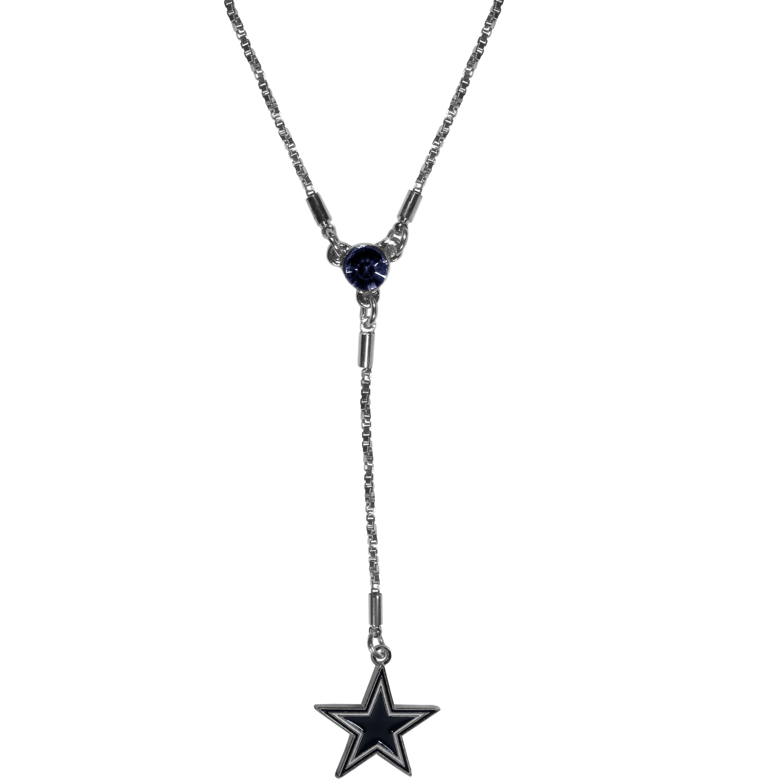 Dallas Cowboys Lariat Necklace - This designer look is a stylish version of the classic lariat necklace. The chic box chain is 16 inches long with a 2 inch extender, the Y drop features a large team colored crystal with an expertly carved team charm. This trendy look is a perfect blend of sporty and chic making is a mush-have fashion accessory for the fashion-forward Dallas Cowboys fan.