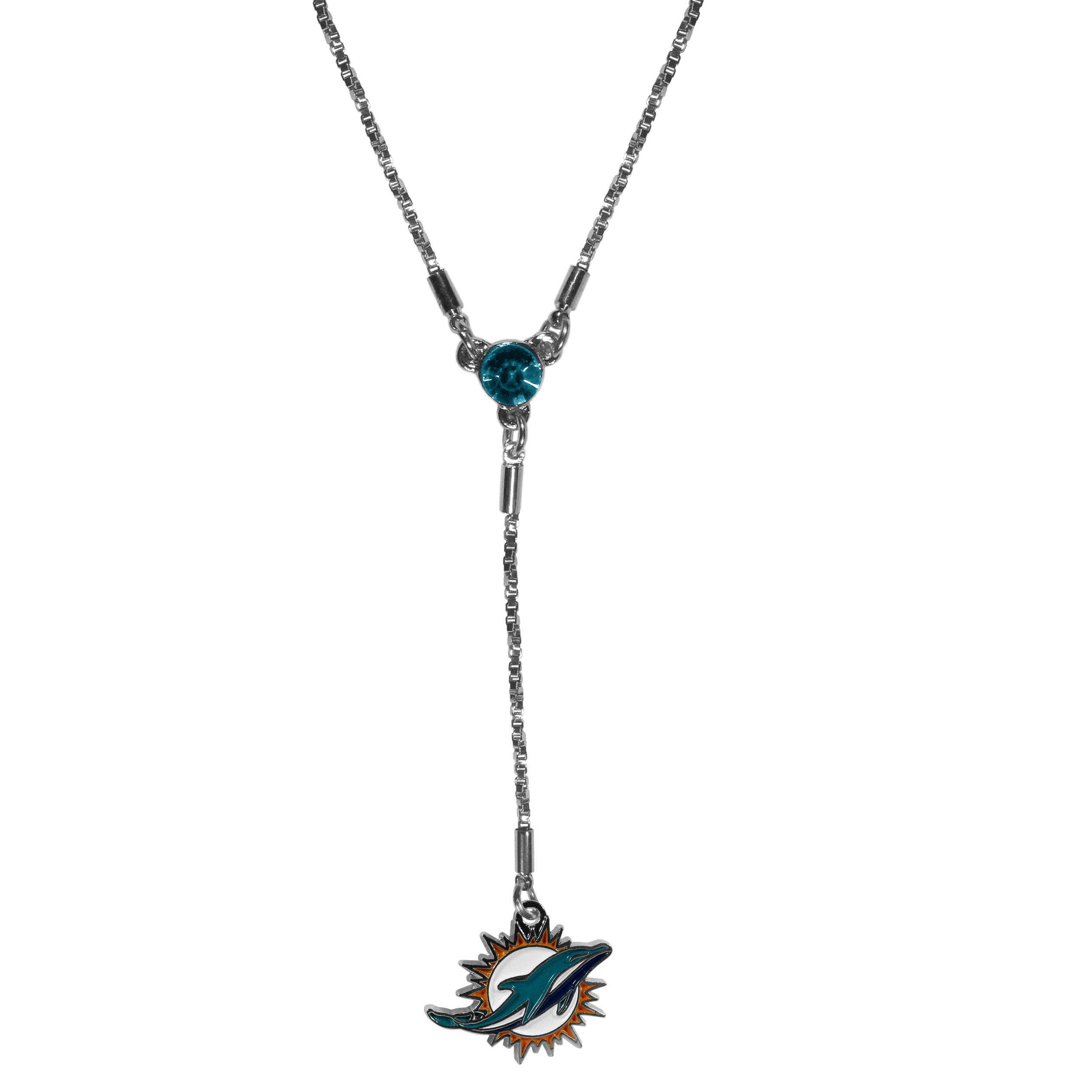 Miami Dolphins Lariat Necklace - This designer look is a stylish version of the classic lariat necklace. The chic box chain is 16 inches long with a 2 inch extender, the Y drop features a large team colored crystal with an expertly carved team charm. This trendy look is a perfect blend of sporty and chic making is a mush-have fashion accessory for the fashion-forward Miami Dolphins fan.