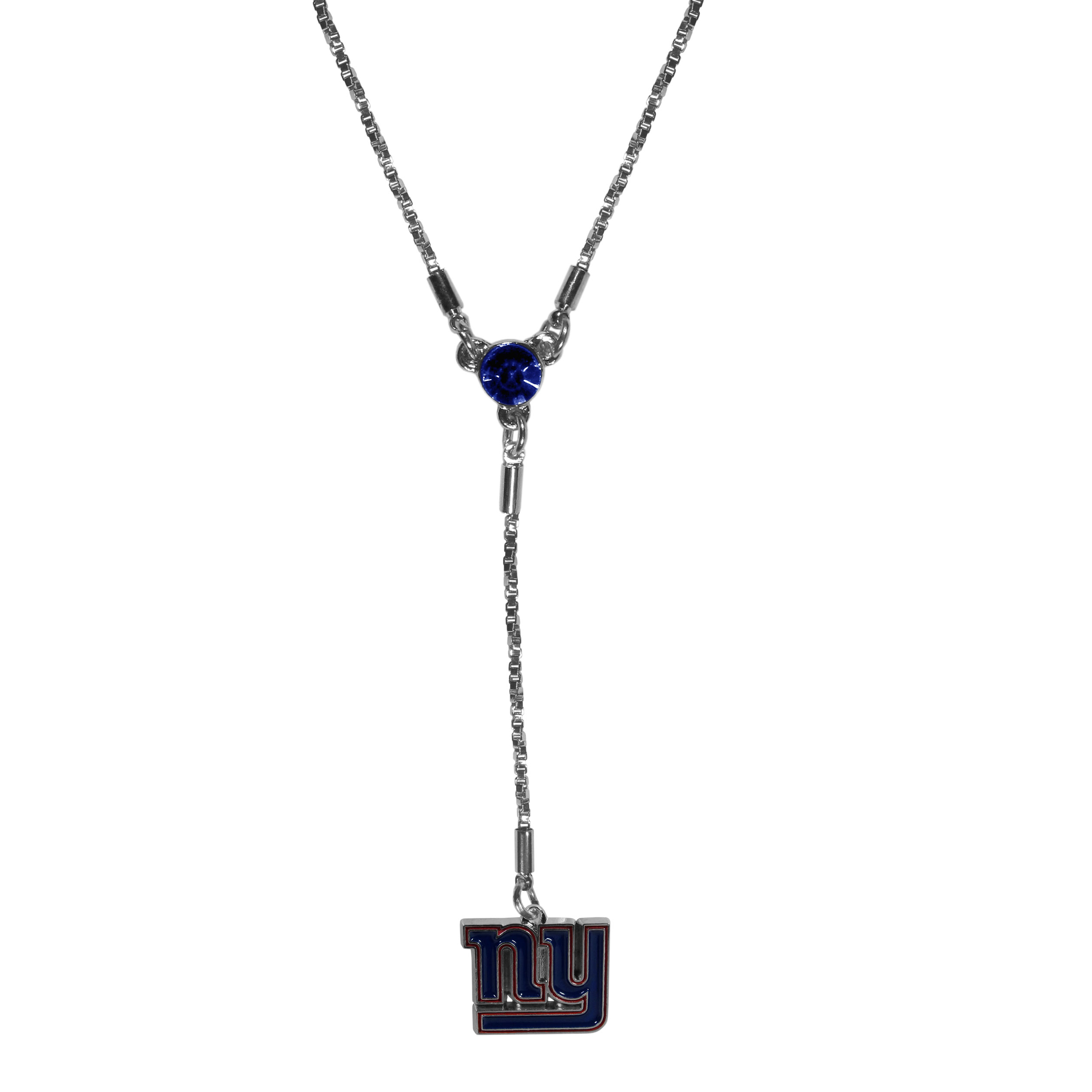 New York Giants Lariat Necklace - This designer look is a stylish version of the classic lariat necklace. The chic box chain is 16 inches long with a 2 inch extender, the Y drop features a large team colored crystal with an expertly carved team charm. This trendy look is a perfect blend of sporty and chic making is a mush-have fashion accessory for the fashion-forward New York Giants fan.