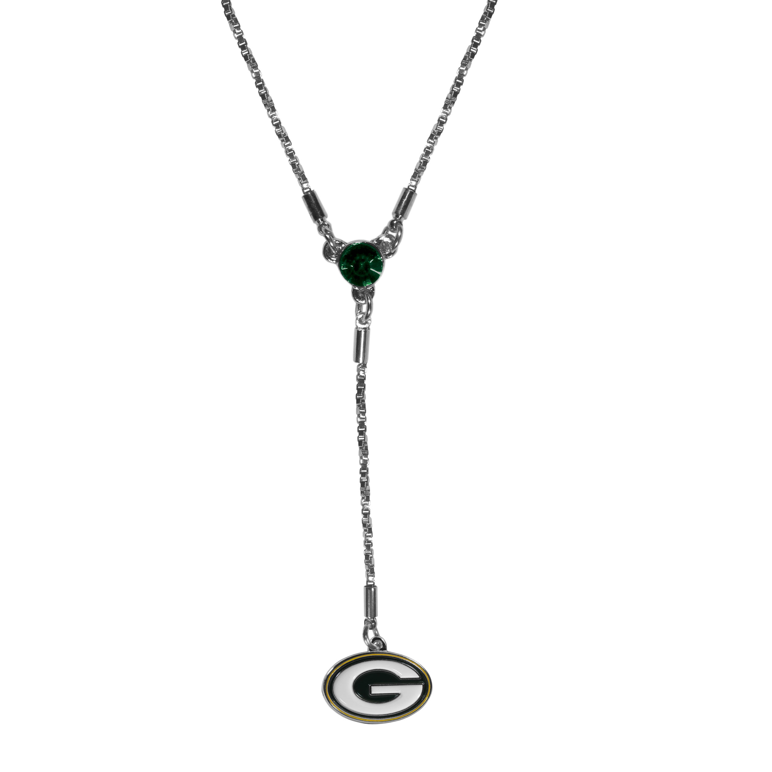 Green Bay Packers Lariat Necklace - This designer look is a stylish version of the classic lariat necklace. The chic box chain is 16 inches long with a 2 inch extender, the Y drop features a large team colored crystal with an expertly carved team charm. This trendy look is a perfect blend of sporty and chic making is a mush-have fashion accessory for the fashion-forward Green Bay Packers fan.