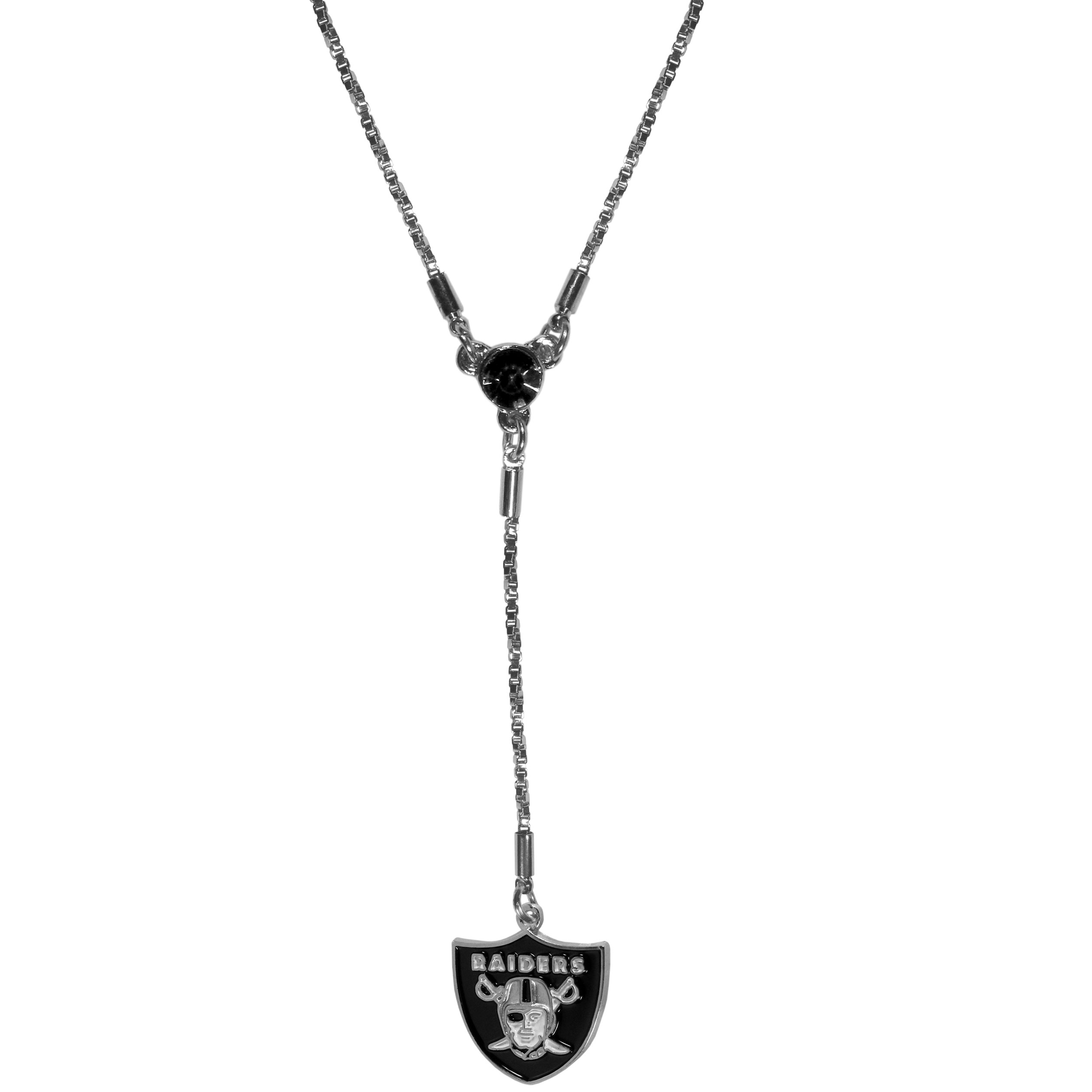 Oakland Raiders Lariat Necklace - This designer look is a stylish version of the classic lariat necklace. The chic box chain is 16 inches long with a 2 inch extender, the Y drop features a large team colored crystal with an expertly carved team charm. This trendy look is a perfect blend of sporty and chic making is a mush-have fashion accessory for the fashion-forward Oakland Raiders fan.