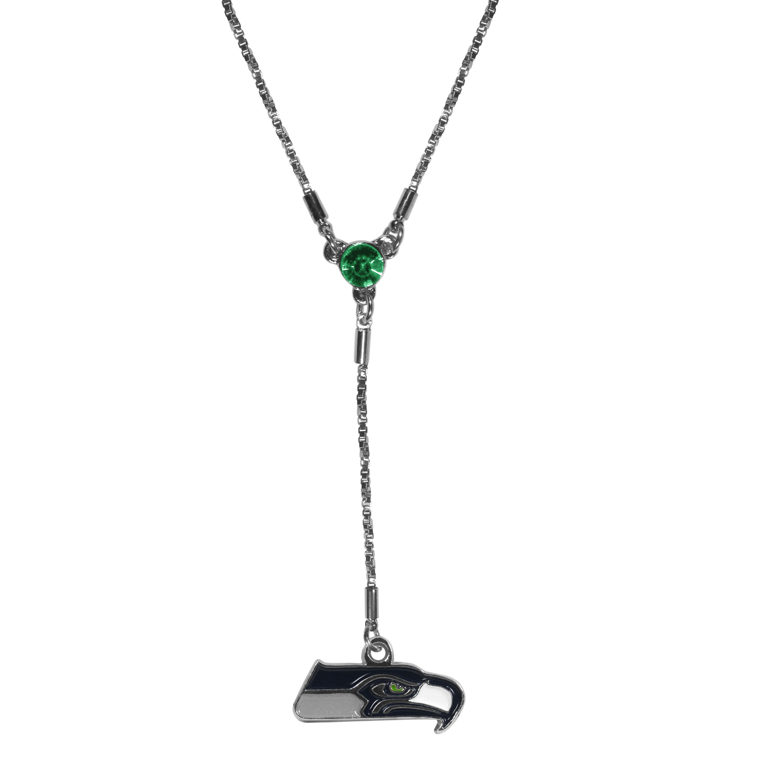 Seattle Seahawks Lariat Necklace - This designer look is a stylish version of the classic lariat necklace. The chic box chain is 16 inches long with a 2 inch extender, the Y drop features a large team colored crystal with an expertly carved team charm. This trendy look is a perfect blend of sporty and chic making is a mush-have fashion accessory for the fashion-forward Seattle Seahawks fan.