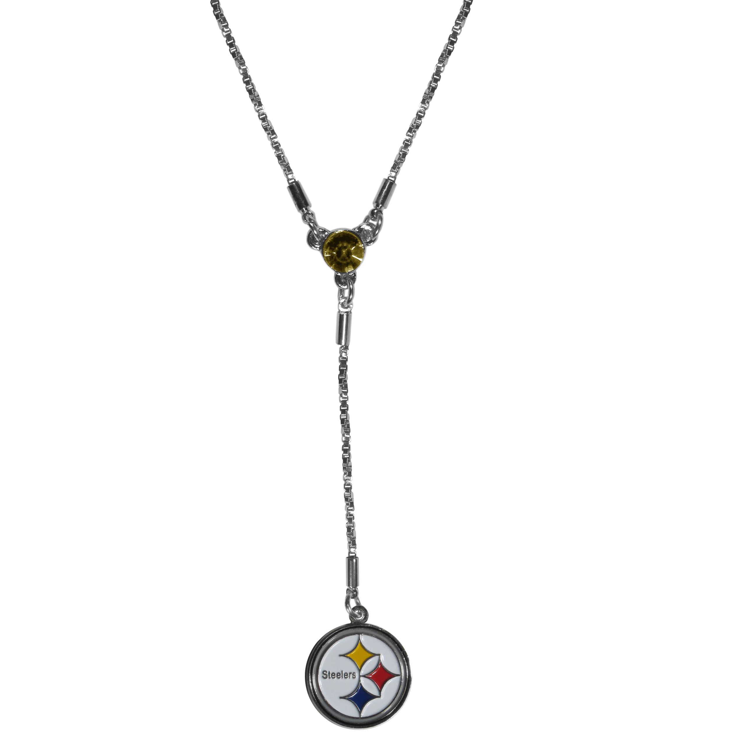 Pittsburgh Steelers Lariat Necklace - This designer look is a stylish version of the classic lariat necklace. The chic box chain is 16 inches long with a 2 inch extender, the Y drop features a large team colored crystal with an expertly carved team charm. This trendy look is a perfect blend of sporty and chic making is a mush-have fashion accessory for the fashion-forward Pittsburgh Steelers fan.