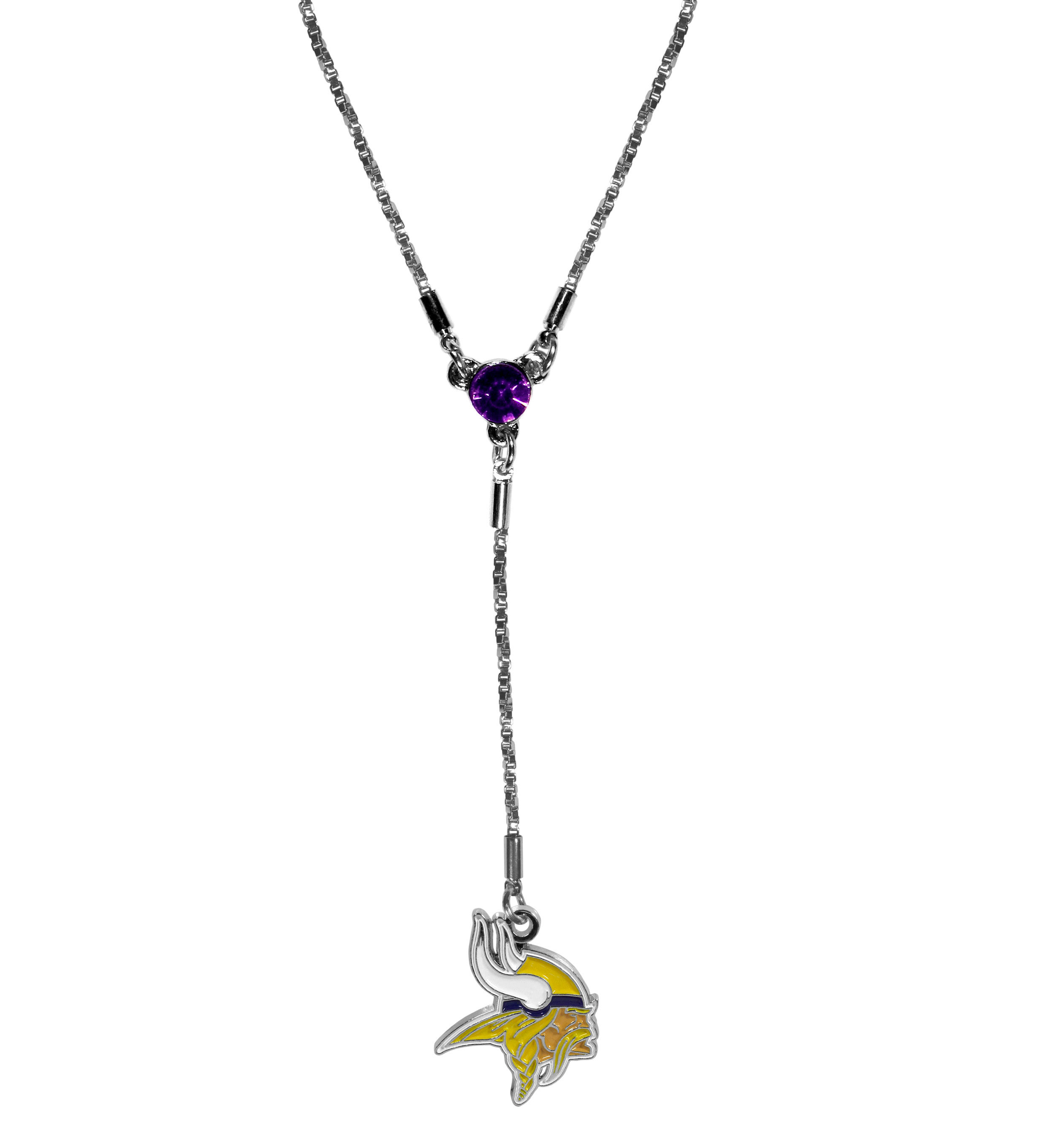 Minnesota Vikings Lariat Necklace - This designer look is a stylish version of the classic lariat necklace. The chic box chain is 16 inches long with a 2 inch extender, the Y drop features a large team colored crystal with an expertly carved team charm. This trendy look is a perfect blend of sporty and chic making is a mush-have fashion accessory for the fashion-forward Minnesota Vikings fan.