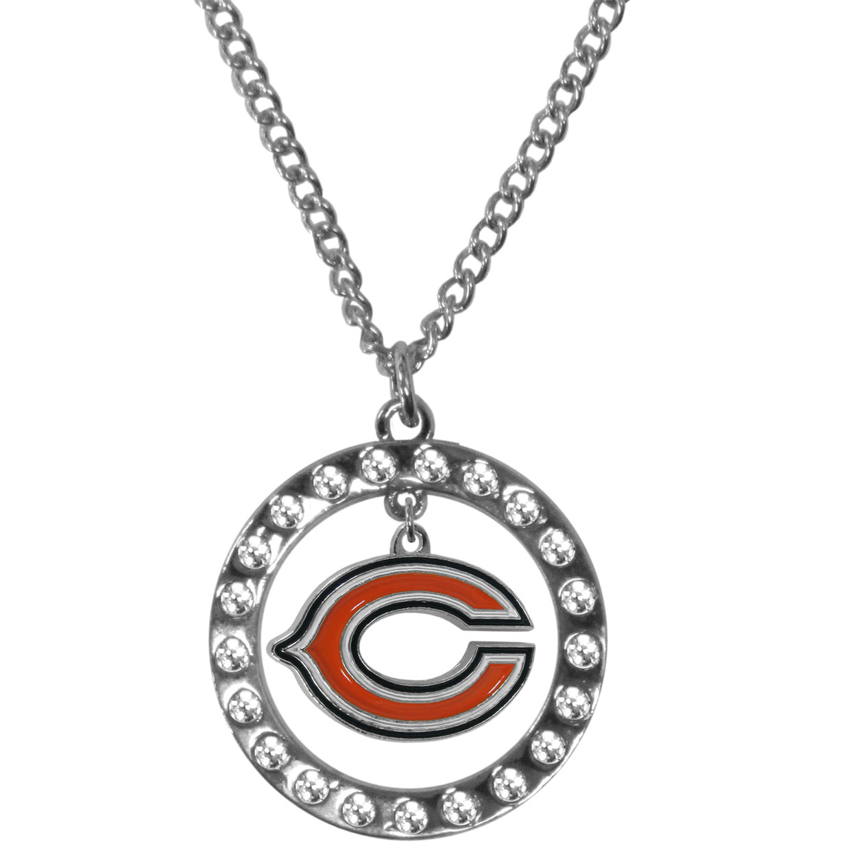 Chicago Bears Rhinestone Hoop Necklaces - Our Chicago Bears rhinestone hoop necklace comes on an 18 inch chain and features a hoop covered in rhinestones with a high polish chrome finish and a cast and enameled team charm dangling in the center.