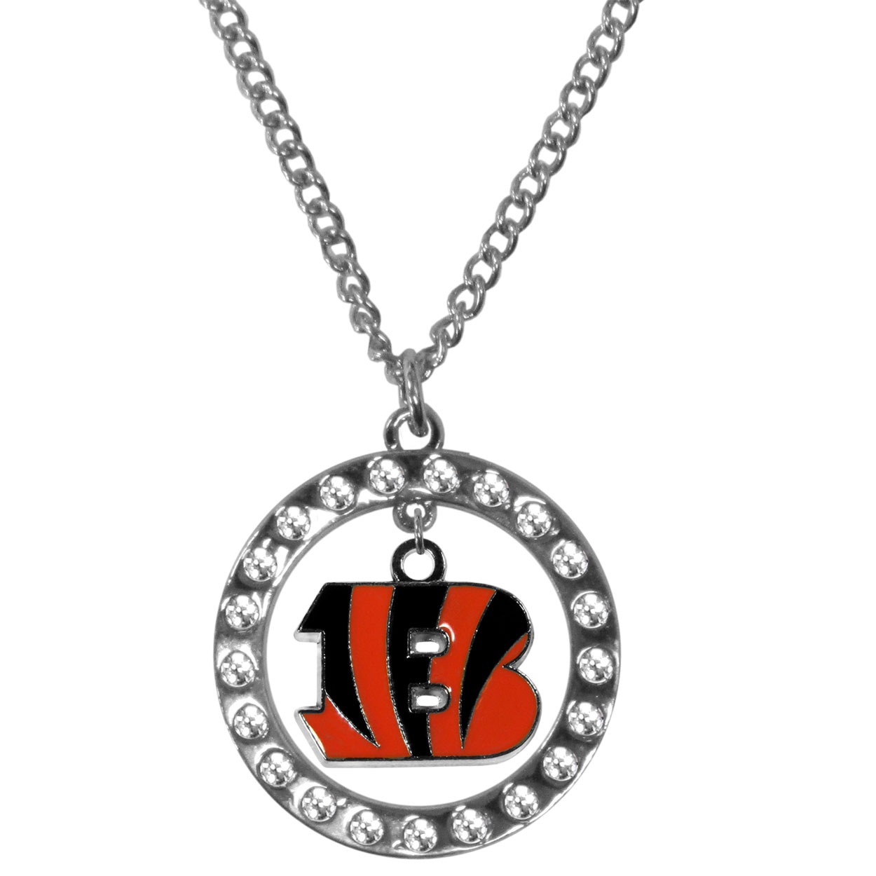 Cincinnati Bengals Rhinestone Hoop Necklaces - Our Cincinnati Bengals rhinestone hoop necklace comes on an 18 inch chain and features a hoop covered in rhinestones with a high polish chrome finish and a cast and enameled team charm dangling in the center.