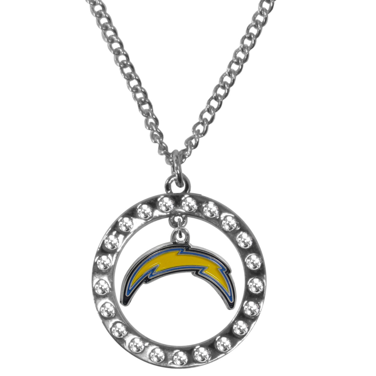 Los Angeles Chargers Rhinestone Hoop Necklaces - Our Los Angeles Chargers rhinestone hoop necklace comes on an 18 inch chain and features a hoop covered in rhinestones with a high polish chrome finish and a cast and enameled team charm dangling in the center.