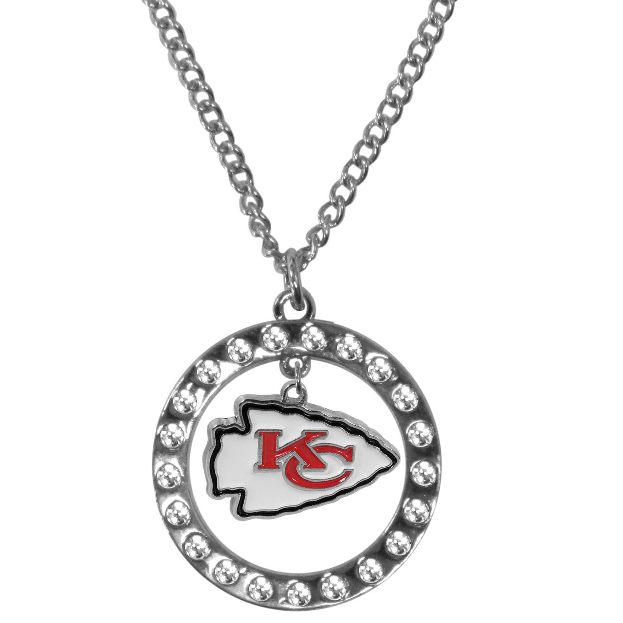 Kansas City Chiefs Rhinestone Hoop Necklaces - Our Kansas City Chiefs rhinestone hoop necklace comes on an 18 inch chain and features a hoop covered in rhinestones with a high polish chrome finish and a cast and enameled team charm dangling in the center.