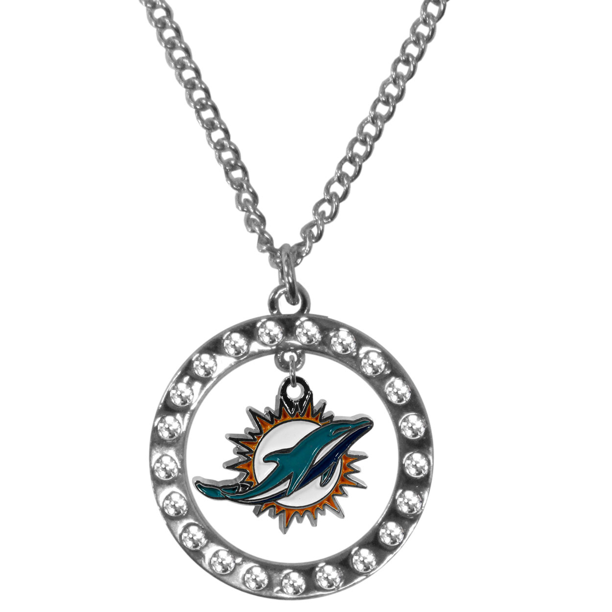 Miami Dolphins Rhinestone Hoop Necklaces - Our Miami Dolphins rhinestone hoop necklace comes on an 18 inch chain and features a hoop covered in rhinestones with a high polish chrome finish and a cast and enameled team charm dangling in the center.