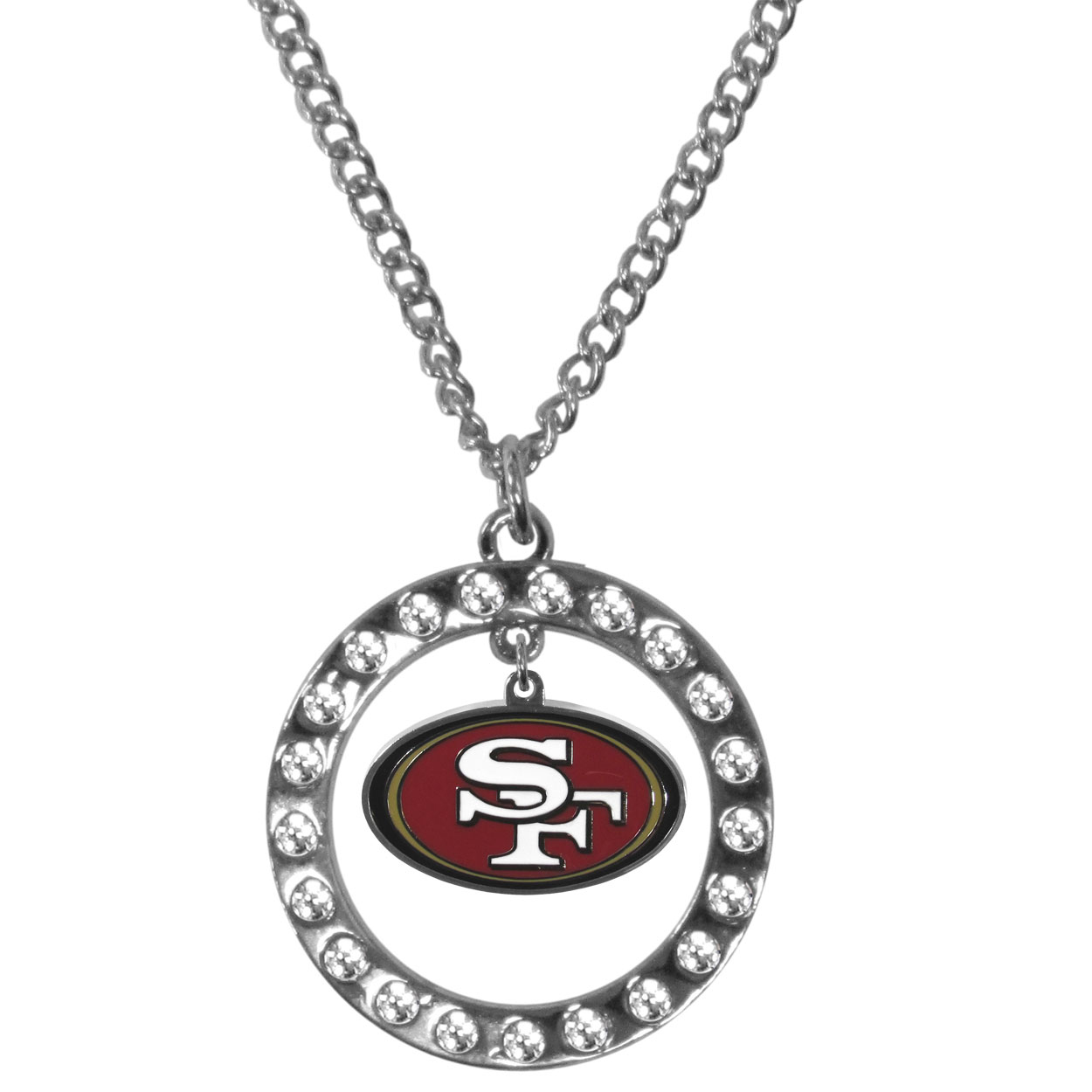 San Francisco 49ers Rhinestone Hoop Necklaces - Our San Francisco 49ers rhinestone hoop necklace comes on an 18 inch chain and features a hoop covered in rhinestones with a high polish chrome finish and a cast and enameled team charm dangling in the center.
