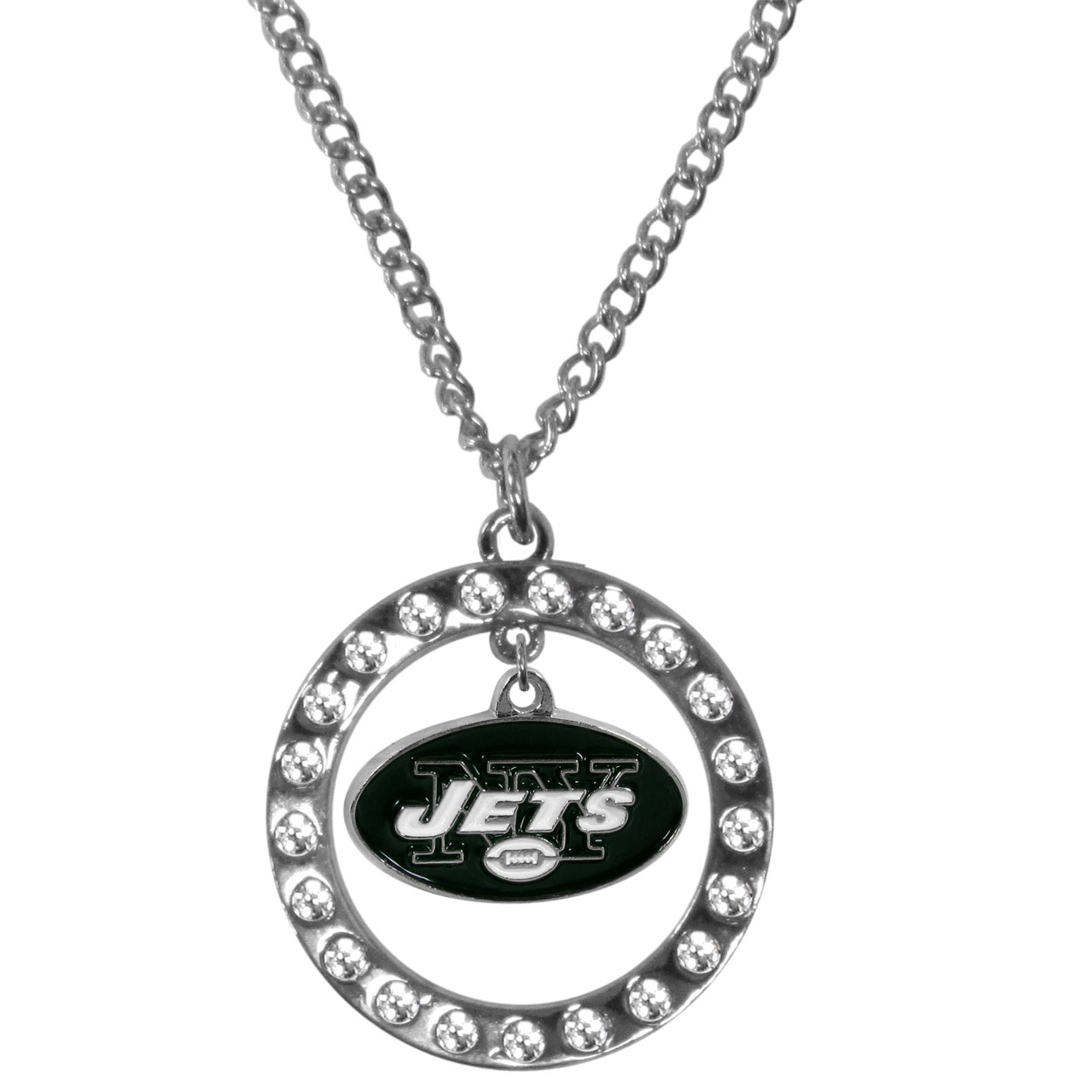 New York Jets Rhinestone Hoop Necklaces - Our New York Jets rhinestone hoop necklace comes on an 18 inch chain and features a hoop covered in rhinestones with a high polish chrome finish and a cast and enameled team charm dangling in the center.