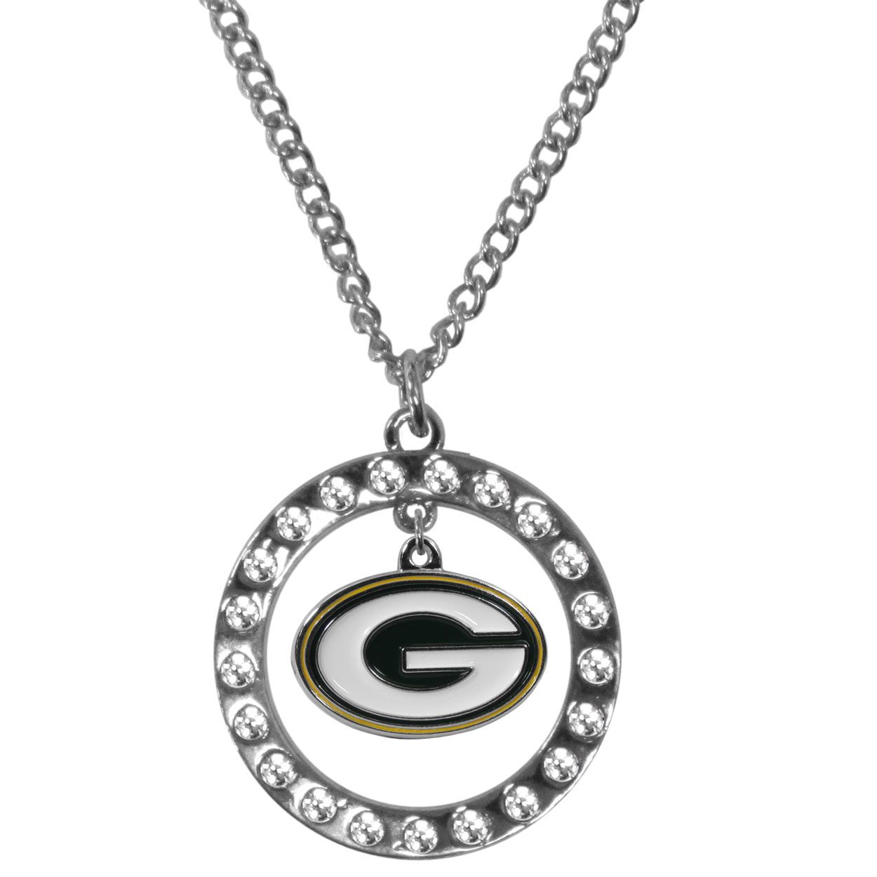 Green Bay Packers Rhinestone Hoop Necklaces - Our Green Bay Packers rhinestone hoop necklace comes on an 18 inch chain and features a hoop covered in rhinestones with a high polish chrome finish and a cast and enameled team charm dangling in the center.
