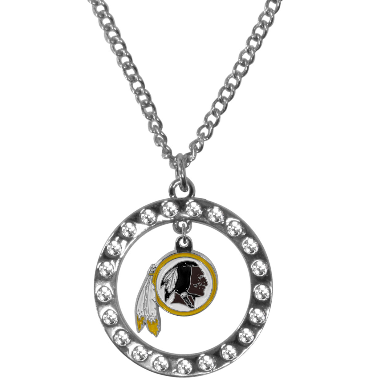 Washington Redskins Rhinestone Hoop Necklaces - Our Washington Redskins rhinestone hoop necklace comes on an 18 inch chain and features a hoop covered in rhinestones with a high polish chrome finish and a cast and enameled team charm dangling in the center.