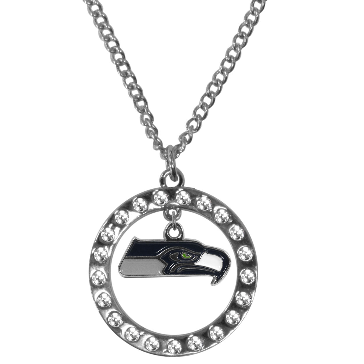 Seattle Seahawks Rhinestone Hoop Necklaces - Our Seattle Seahawks rhinestone hoop necklace comes on an 18 inch chain and features a hoop covered in rhinestones with a high polish chrome finish and a cast and enameled team charm dangling in the center.