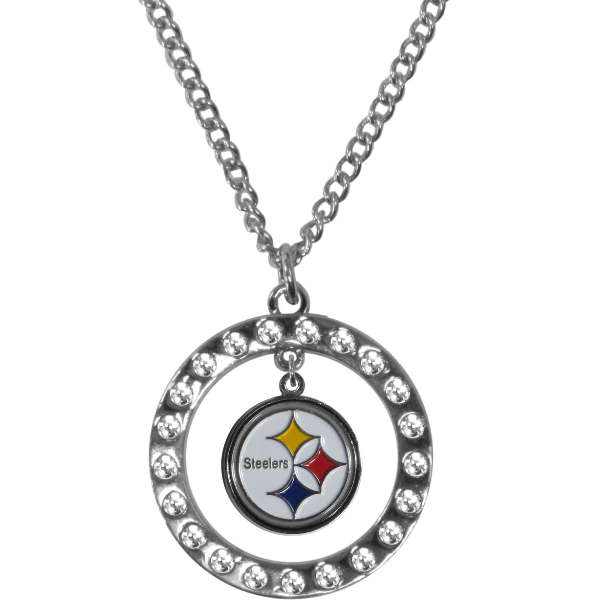 Pittsburgh Steelers Rhinestone Hoop Necklaces - Our Pittsburgh Steelers rhinestone hoop necklace comes on an 18 inch chain and features a hoop covered in rhinestones with a high polish chrome finish and a cast and enameled team charm dangling in the center.