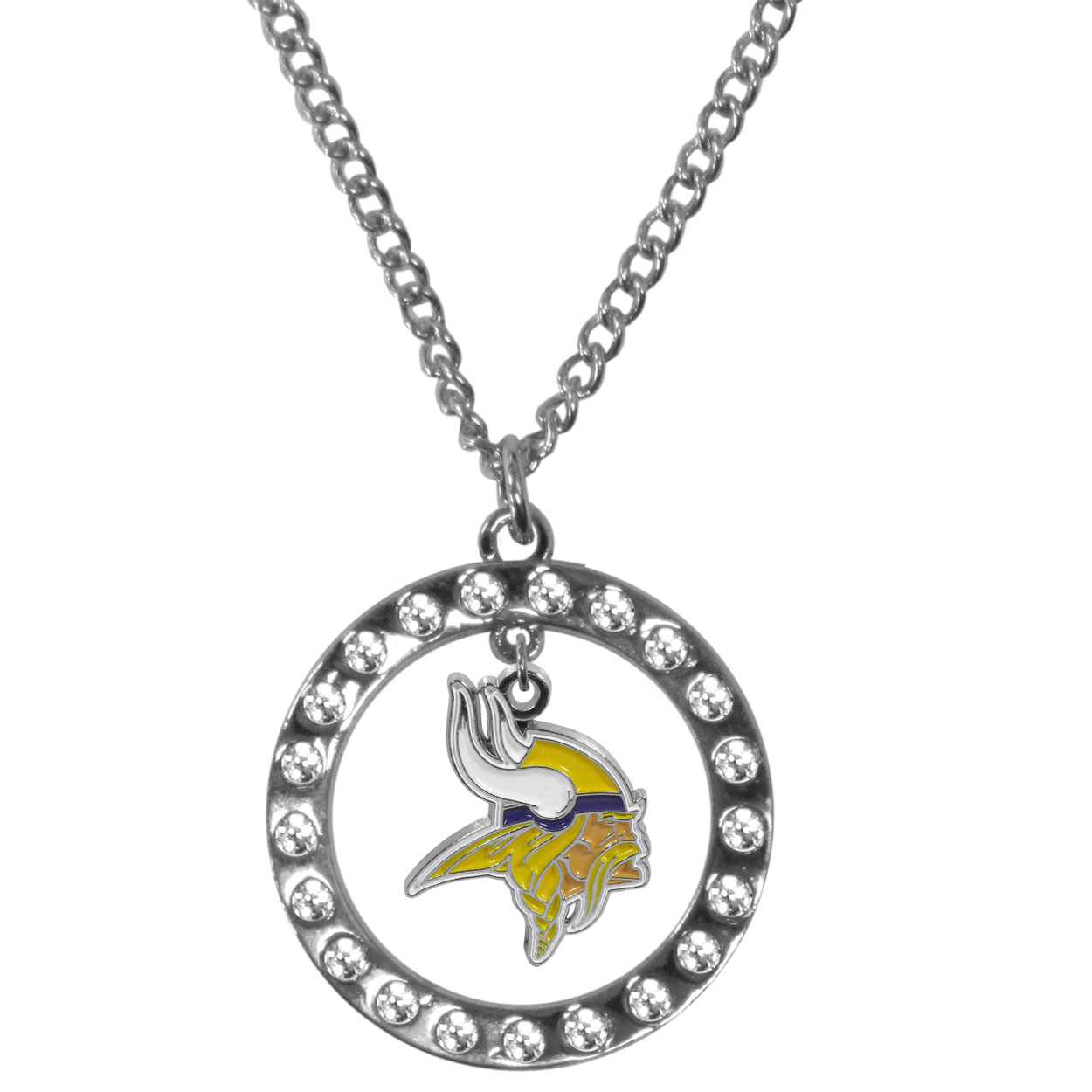Minnesota Vikings Rhinestone Hoop Necklaces - Our Minnesota Vikings rhinestone hoop necklace comes on an 18 inch chain and features a hoop covered in rhinestones with a high polish chrome finish and a cast and enameled team charm dangling in the center.