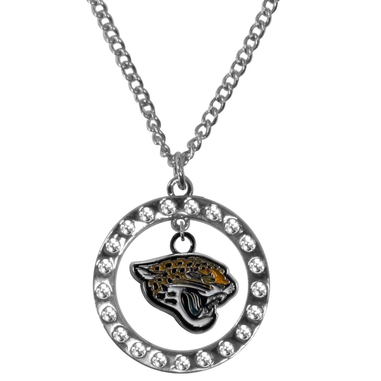Jacksonville Jaguars Rhinestone Hoop Necklaces - Our Jacksonville Jaguars rhinestone hoop necklace comes on an 18 inch chain and features a hoop covered in rhinestones with a high polish chrome finish and a cast and enameled team charm dangling in the center.