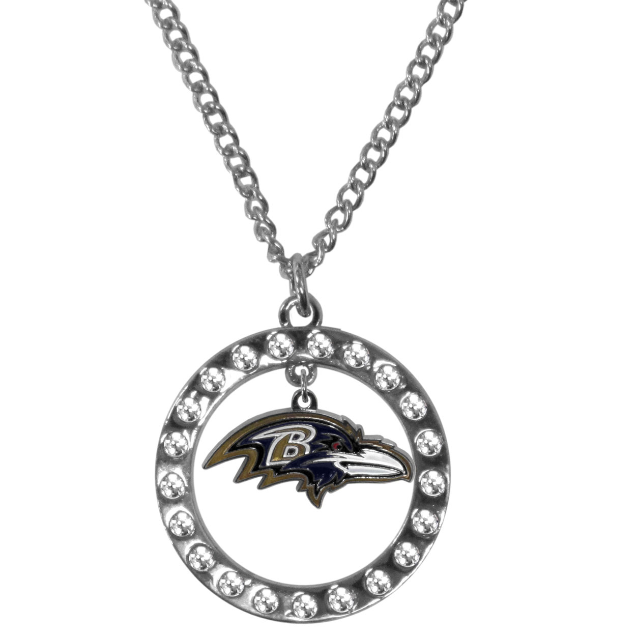 Baltimore Ravens Rhinestone Hoop Necklaces - Our Baltimore Ravens rhinestone hoop necklace comes on an 18 inch chain and features a hoop covered in rhinestones with a high polish chrome finish and a cast and enameled team charm dangling in the center.