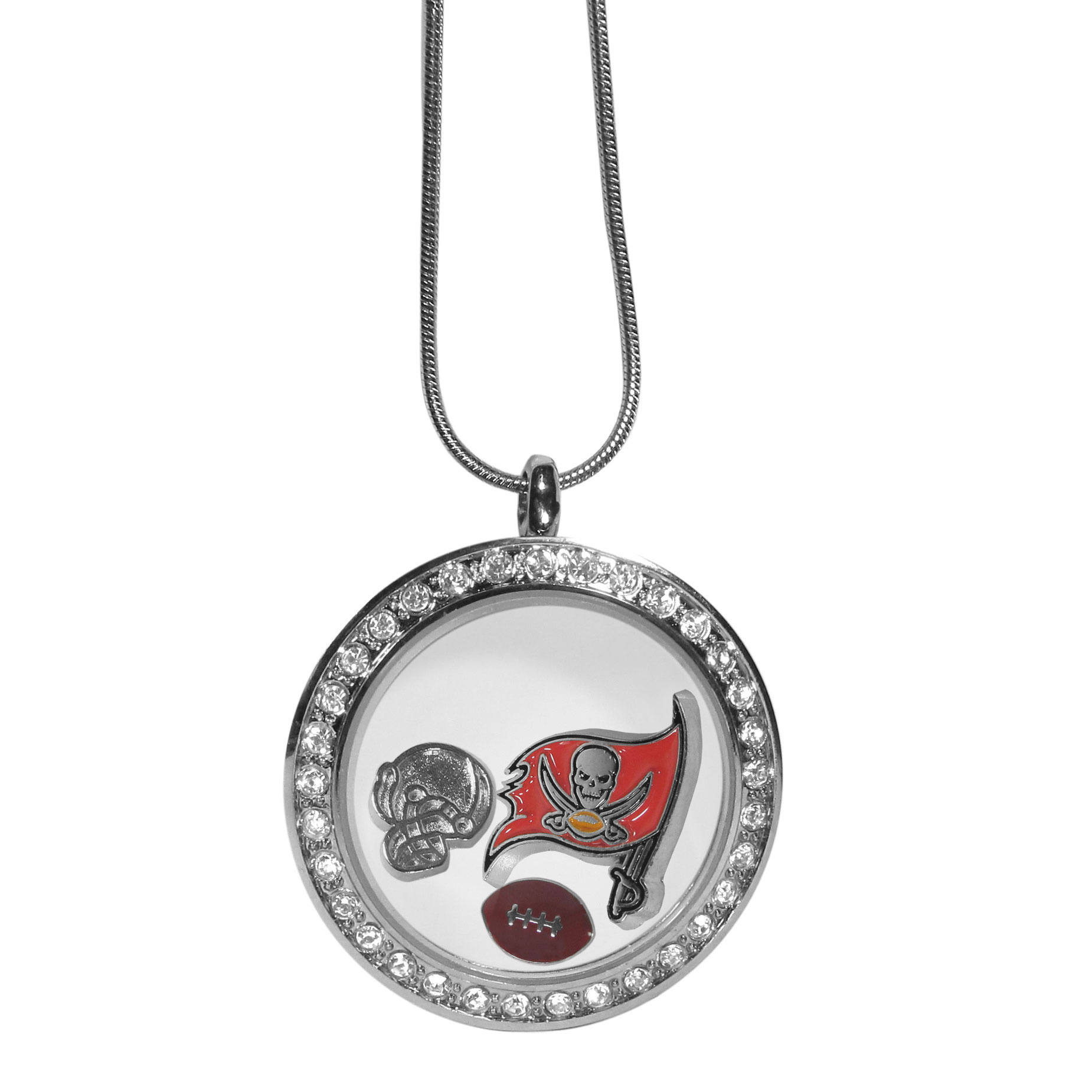 Tampa Bay Buccaneers Locket Necklace - We have taken the classic floating charm locket and combined with licensed sports charms to create a must have fan necklace. The necklace comes with 3 charms; 1 Tampa Bay Buccaneers charm, one football charm and one helmet charm. The charms float in a beautiful locket that has a strong magnetic closure with a rhinestone border. The locket comes on an 18 inch snake chain with 2 inch extender.