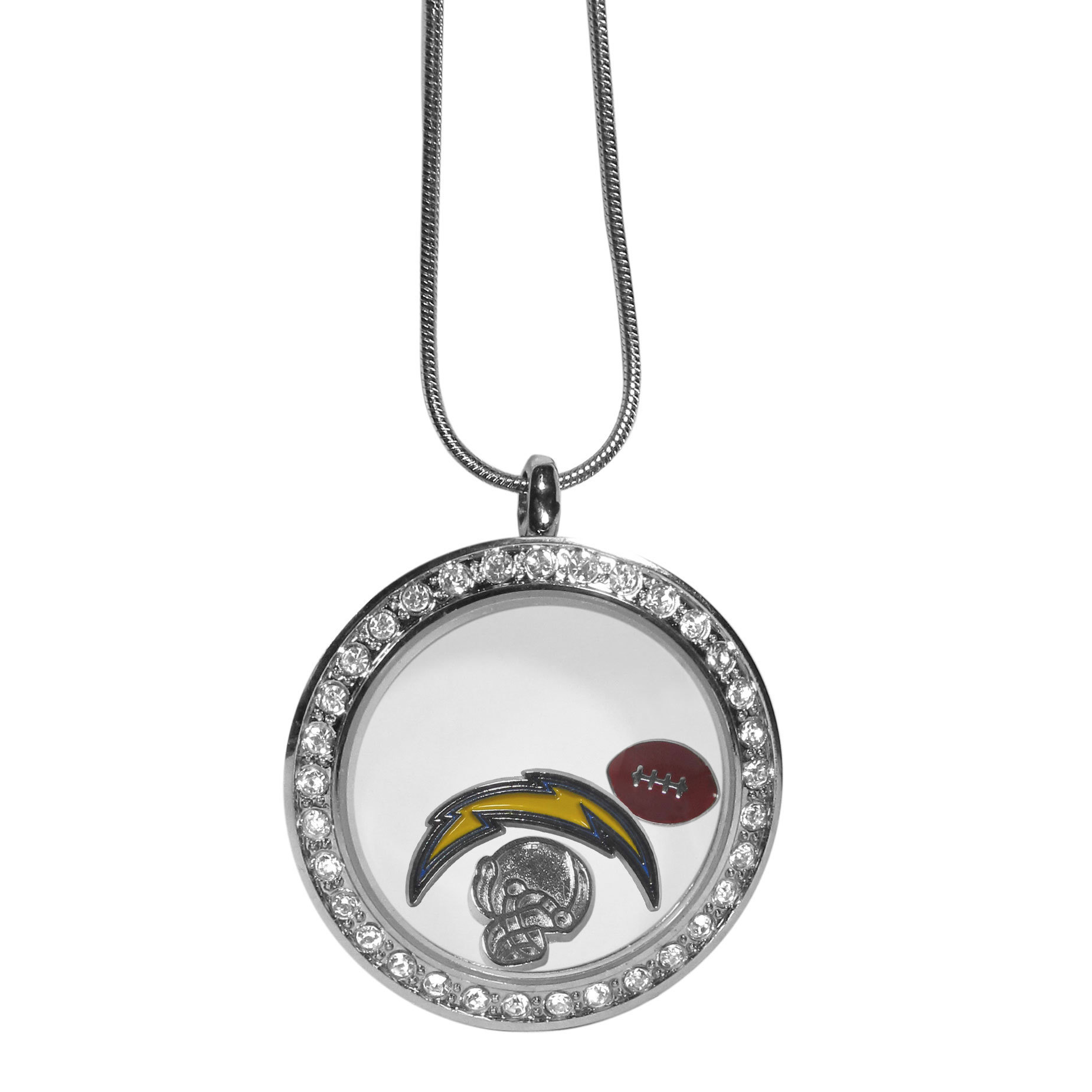 Los Angeles Chargers Locket Necklace - We have taken the classic floating charm locket and combined with licensed sports charms to create a must have fan necklace. The necklace comes with 3 charms; 1 Los Angeles Chargers charm, one football charm and one helmet charm. The charms float in a beautiful locket that has a strong magnetic closure with a rhinestone border. The locket comes on an 18 inch snake chain with 2 inch extender.